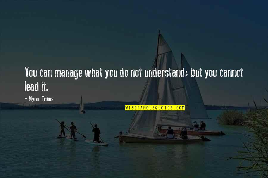 Cannot Understand Quotes By Myron Tribus: You can manage what you do not understand;