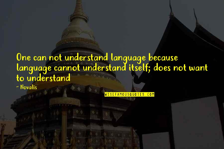 Cannot Understand Quotes By Novalis: One can not understand language because language cannot
