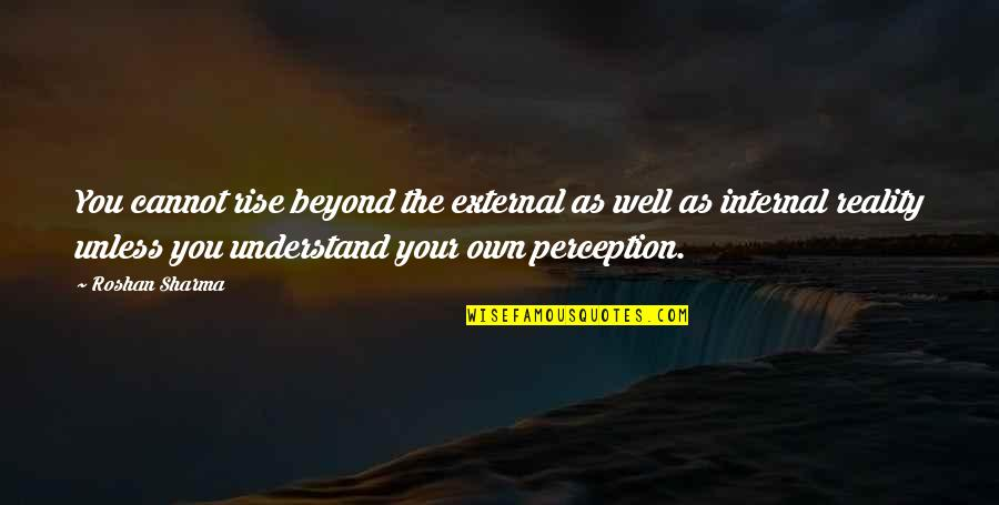 Cannot Understand Quotes By Roshan Sharma: You cannot rise beyond the external as well