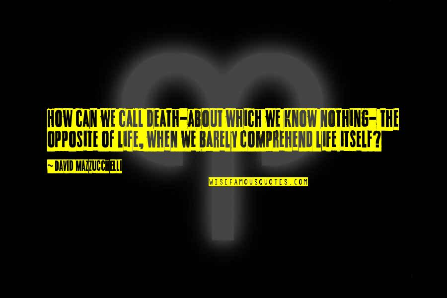 Can't Comprehend Quotes By David Mazzucchelli: How can we call death-about which we know