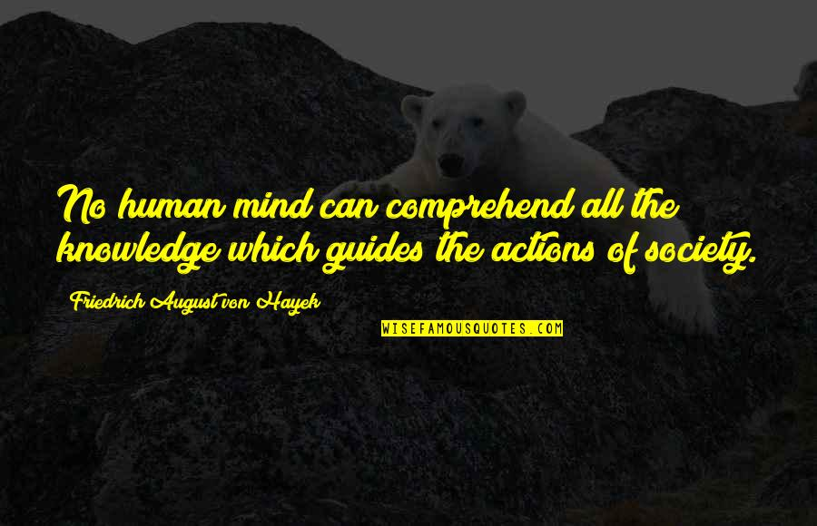 Can't Comprehend Quotes By Friedrich August Von Hayek: No human mind can comprehend all the knowledge