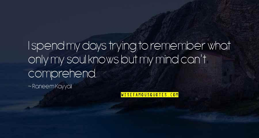 Can't Comprehend Quotes By Raneem Kayyali: I spend my days trying to remember what