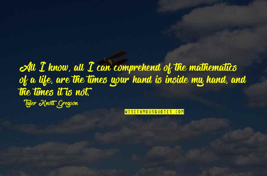 Can't Comprehend Quotes By Tyler Knott Gregson: All I know, all I can comprehend of