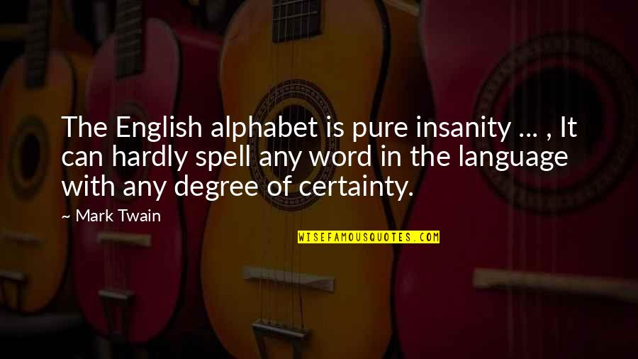 Can't Even Spell Quotes By Mark Twain: The English alphabet is pure insanity ... ,