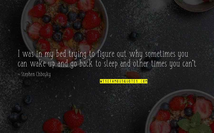 Can't Go Back To Sleep Quotes By Stephen Chbosky: I was in my bed trying to figure