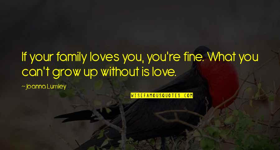 Can't Grow Up Quotes By Joanna Lumley: If your family loves you, you're fine. What