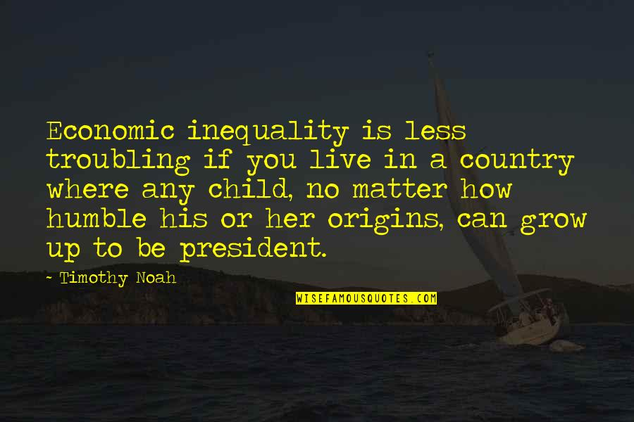 Can't Grow Up Quotes By Timothy Noah: Economic inequality is less troubling if you live