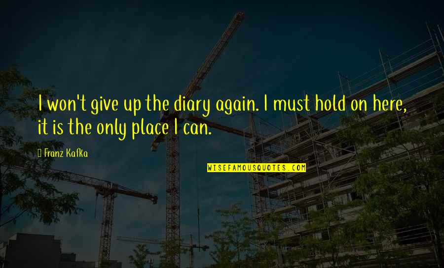 Can't Hold On Quotes By Franz Kafka: I won't give up the diary again. I
