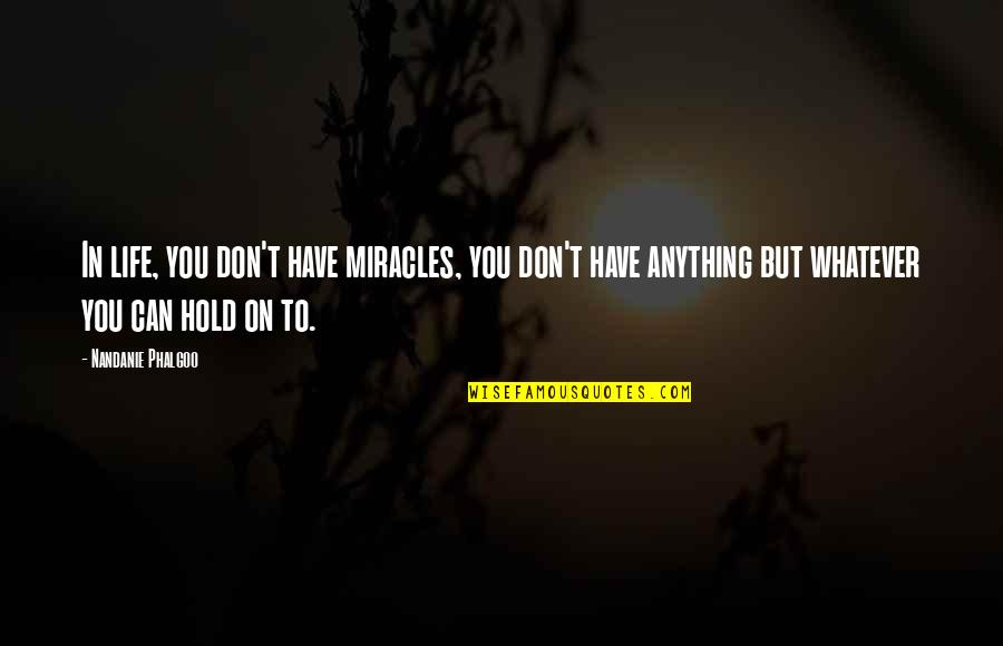 Can't Hold On Quotes By Nandanie Phalgoo: In life, you don't have miracles, you don't