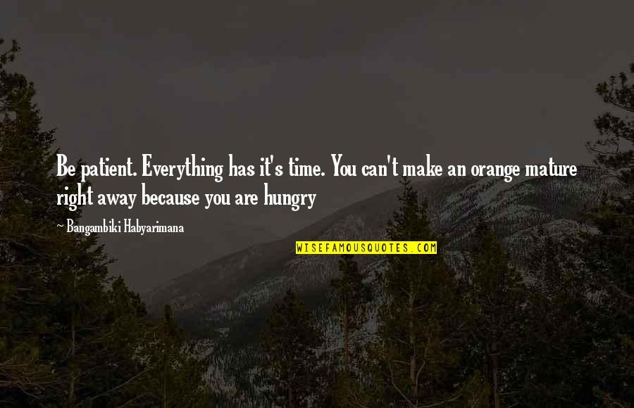 Can't Make It Quotes By Bangambiki Habyarimana: Be patient. Everything has it's time. You can't