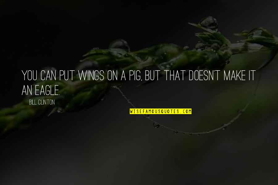 Can't Make It Quotes By Bill Clinton: You can put wings on a pig, but
