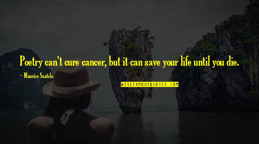 Can't Save You Quotes By Maurice Saatchi: Poetry can't cure cancer, but it can save