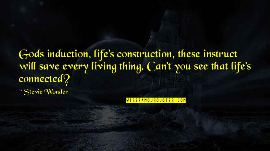 Can't Save You Quotes By Stevie Wonder: Gods induction, life's construction, these instruct will save