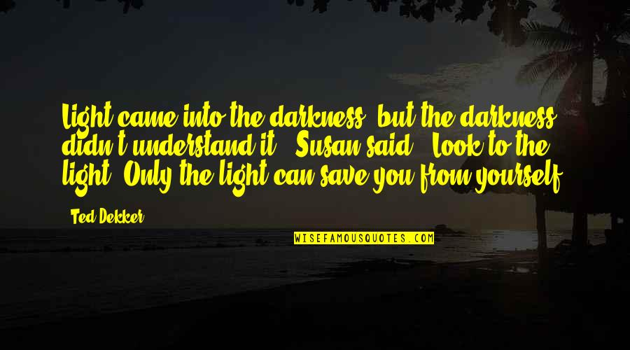 Can't Save You Quotes By Ted Dekker: Light came into the darkness, but the darkness