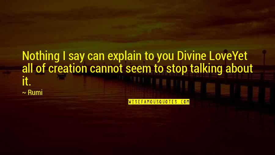 Can't Say I Love You Quotes By Rumi: Nothing I say can explain to you Divine