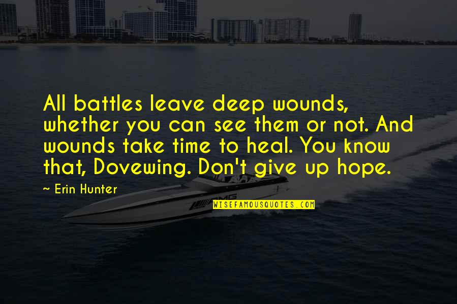 Can't You See Quotes By Erin Hunter: All battles leave deep wounds, whether you can