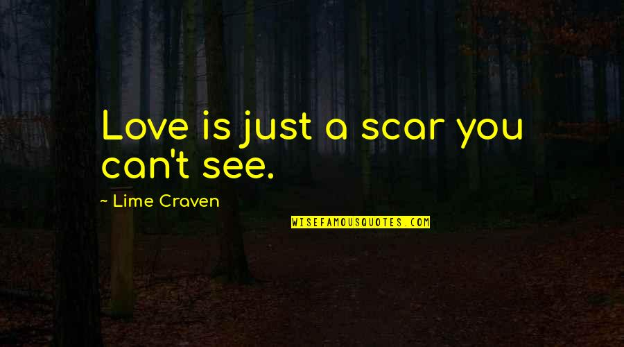 Can't You See Quotes By Lime Craven: Love is just a scar you can't see.
