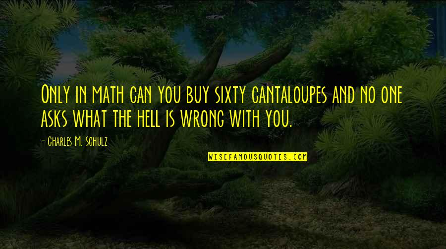 Cantaloupes Quotes By Charles M. Schulz: Only in math can you buy sixty cantaloupes