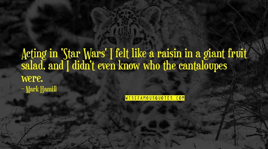 Cantaloupes Quotes By Mark Hamill: Acting in 'Star Wars' I felt like a
