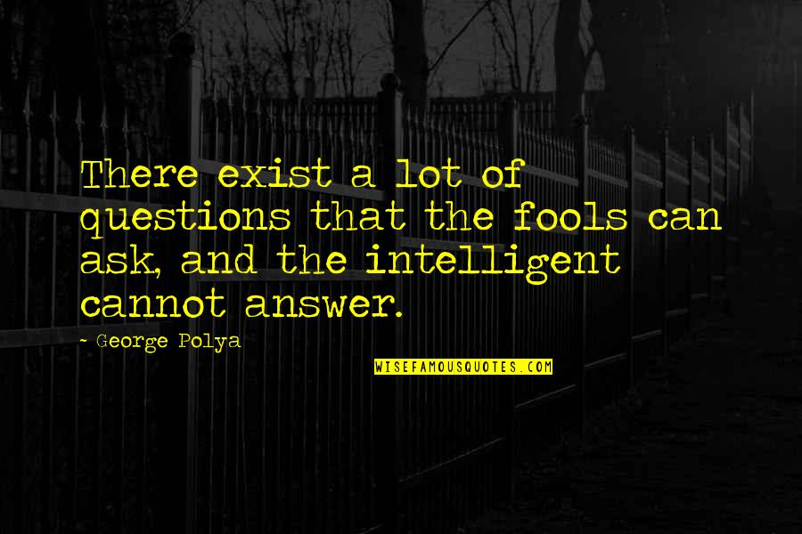 Can'tand Quotes By George Polya: There exist a lot of questions that the