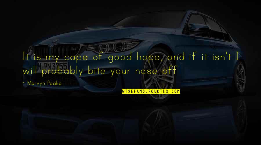 Cape Quotes By Mervyn Peake: It is my cape of good hope, and