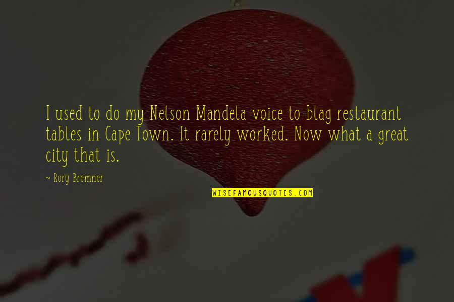 Cape Quotes By Rory Bremner: I used to do my Nelson Mandela voice