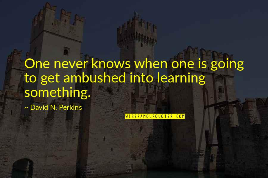 Car Garage Quotes By David N. Perkins: One never knows when one is going to