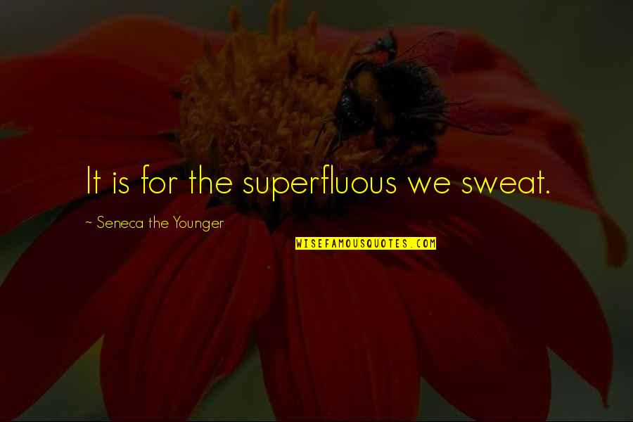 Car Talk Famous Quotes By Seneca The Younger: It is for the superfluous we sweat.