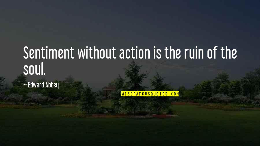 Caramelized Quotes By Edward Abbey: Sentiment without action is the ruin of the