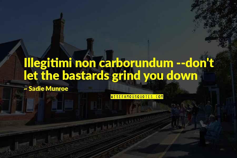 Carborundum Quotes By Sadie Munroe: Illegitimi non carborundum --don't let the bastards grind