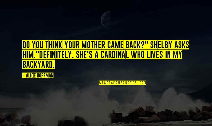 "Cardinal Quotes By Alice Hoffman: Do you think your mother came back?"" Shelby"