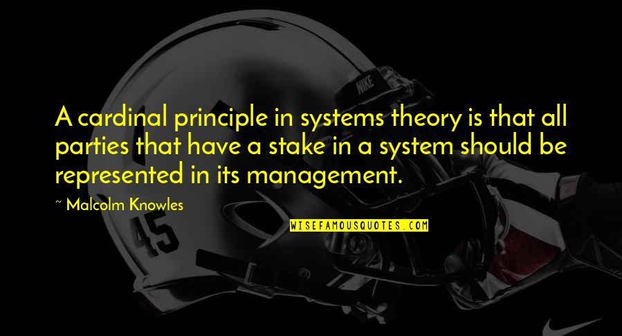 Cardinal Quotes By Malcolm Knowles: A cardinal principle in systems theory is that