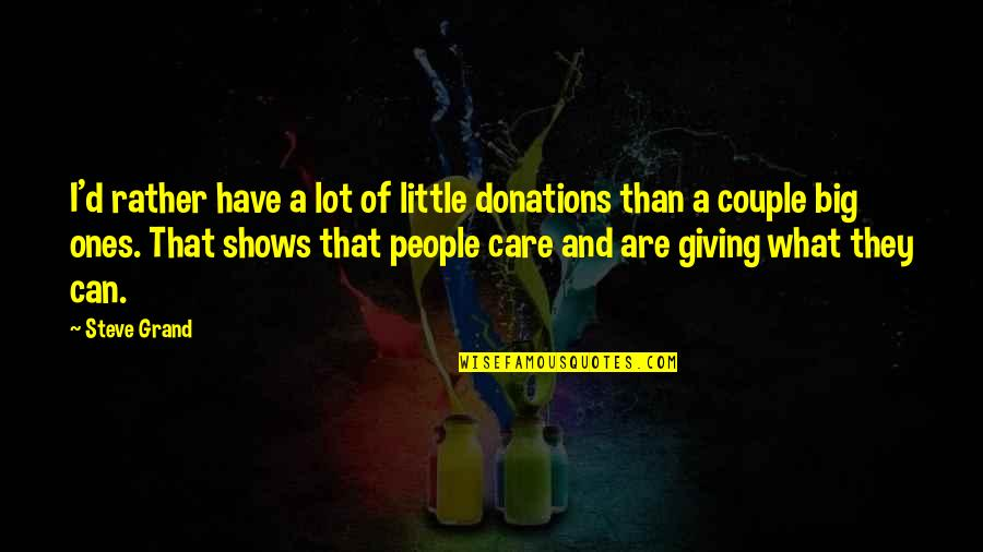 Care A Lot Quotes By Steve Grand: I'd rather have a lot of little donations