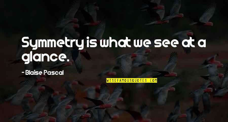 Career And Education Quotes By Blaise Pascal: Symmetry is what we see at a glance.