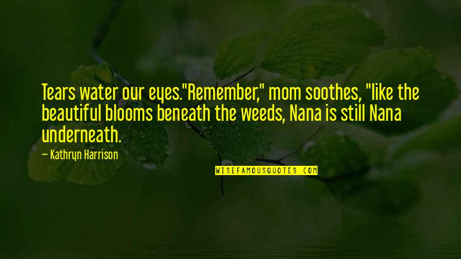 """Caregiver Quotes By Kathryn Harrison: Tears water our eyes.""""Remember,"""" mom soothes, """"like the"""