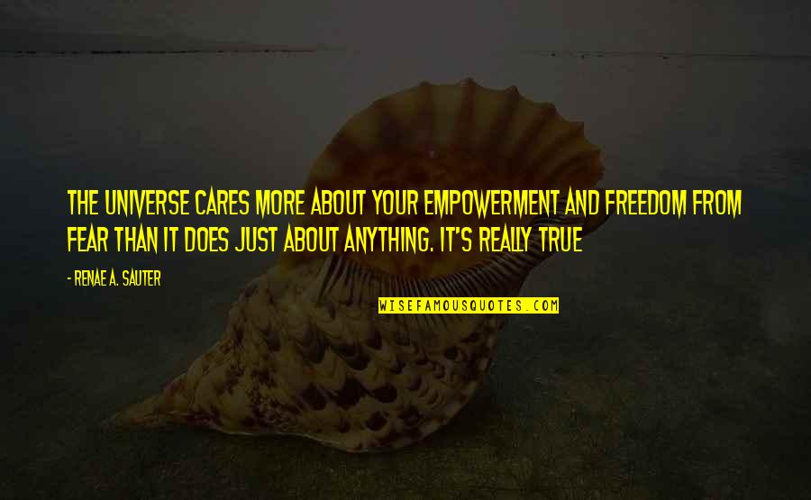 Cares Quotes Quotes By Renae A. Sauter: The Universe cares more about your empowerment and