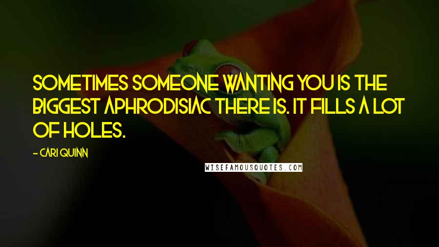 Cari Quinn quotes: Sometimes someone wanting you is the biggest aphrodisiac there is. It fills a lot of holes.