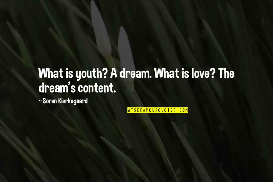 Caring For Someone Who Is Dying Quotes By Soren Kierkegaard: What is youth? A dream. What is love?
