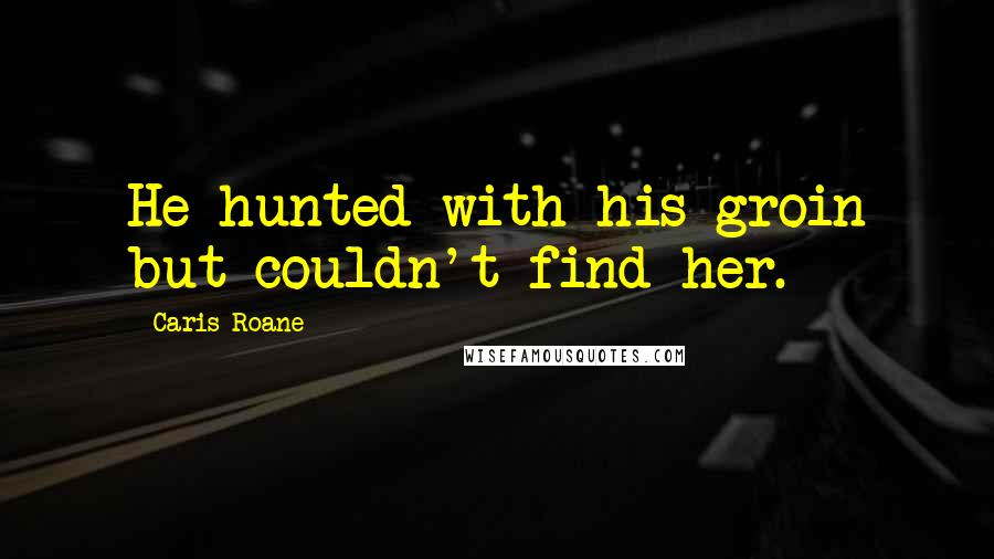 Caris Roane quotes: He hunted with his groin but couldn't find her.