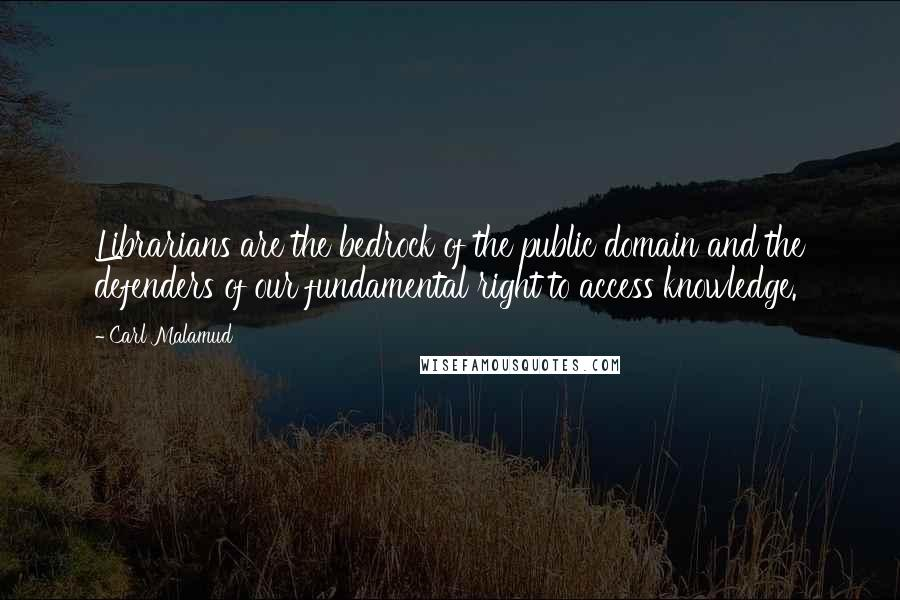Carl Malamud quotes: Librarians are the bedrock of the public domain and the defenders of our fundamental right to access knowledge.