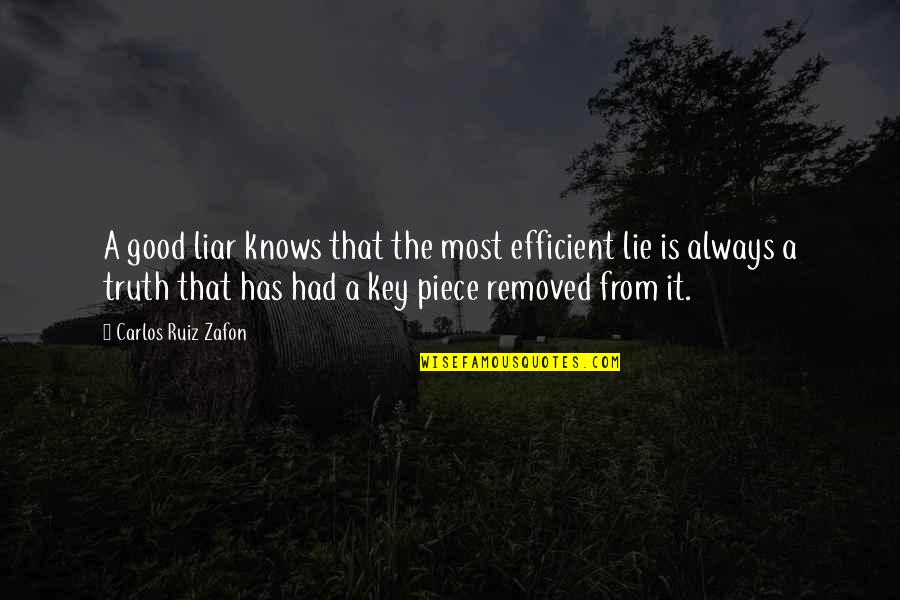 Carlos Ruiz Quotes By Carlos Ruiz Zafon: A good liar knows that the most efficient