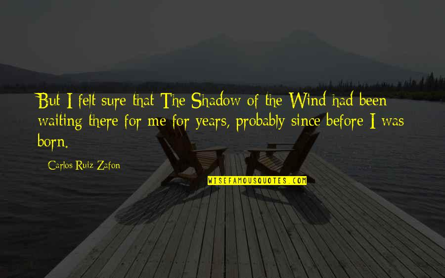 Carlos Ruiz Quotes By Carlos Ruiz Zafon: But I felt sure that The Shadow of