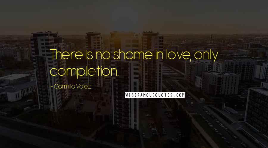 Carmilla Voiez quotes: There is no shame in love, only completion.