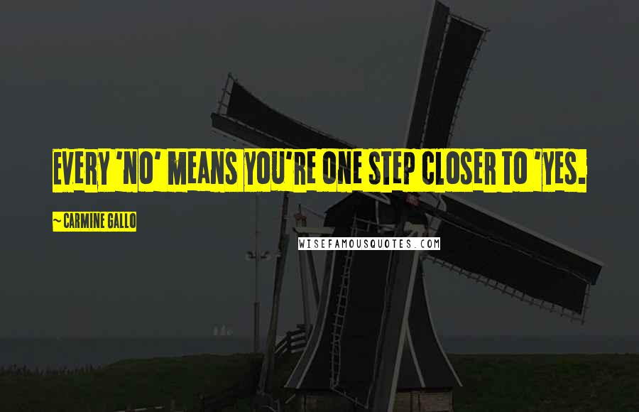 Carmine Gallo quotes: Every 'no' means you're one step closer to 'yes.
