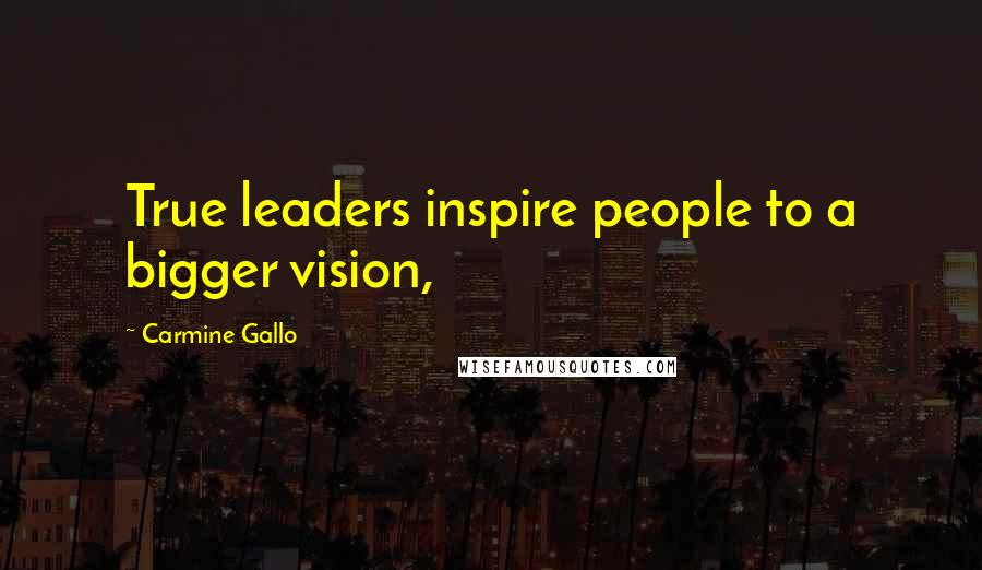 Carmine Gallo quotes: True leaders inspire people to a bigger vision,