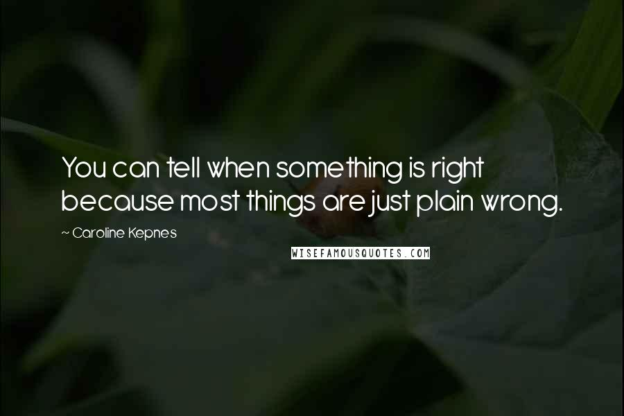 Caroline Kepnes quotes: You can tell when something is right because most things are just plain wrong.
