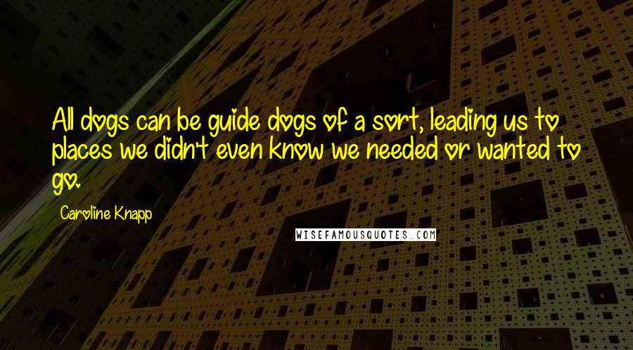 Caroline Knapp quotes: All dogs can be guide dogs of a sort, leading us to places we didn't even know we needed or wanted to go.