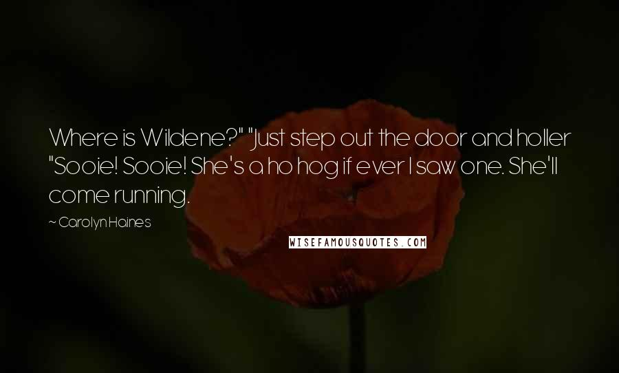 "Carolyn Haines quotes: Where is Wildene?"" ""Just step out the door and holler ""Sooie! Sooie! She's a ho hog if ever I saw one. She'll come running."
