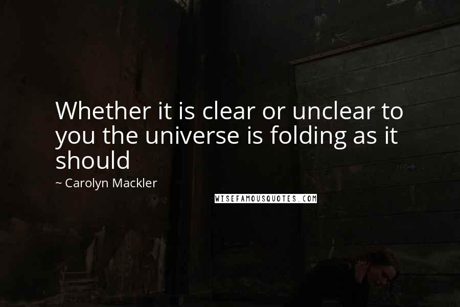 Carolyn Mackler quotes: Whether it is clear or unclear to you the universe is folding as it should