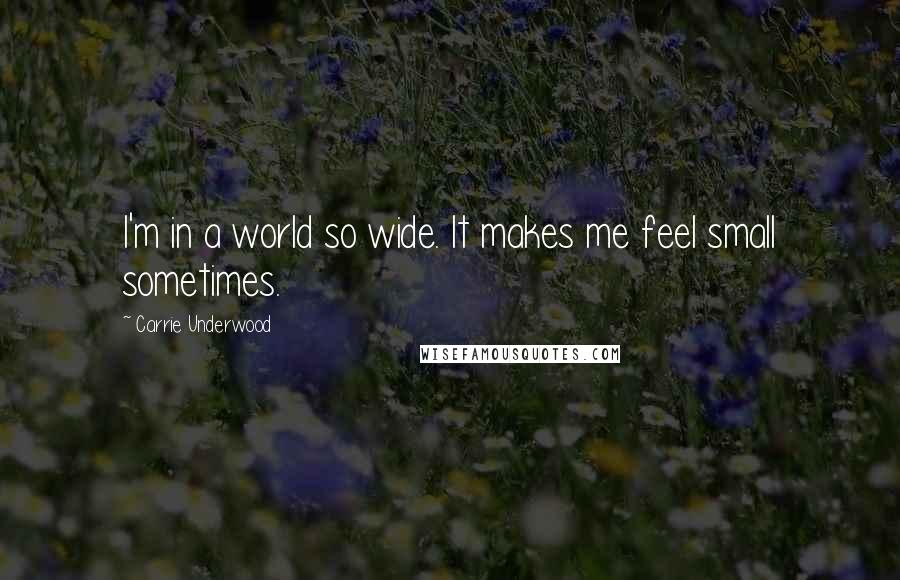 Carrie Underwood quotes: I'm in a world so wide. It makes me feel small sometimes.
